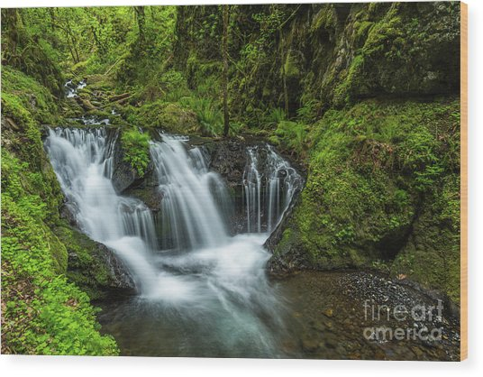 Emeral Falls Waterscape Art By Kaylyn Franks Wood Print