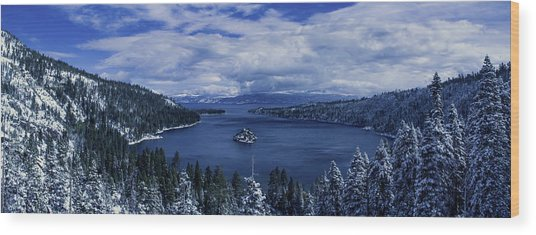 Emerald Bay First Snow Wood Print