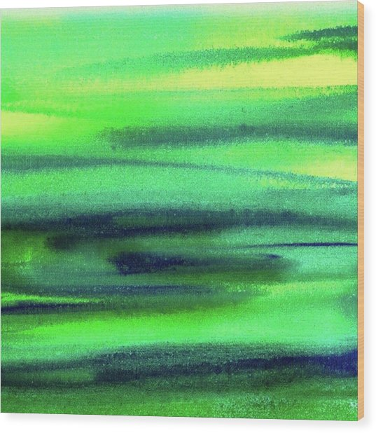 Emerald Flow Abstract Painting Wood Print