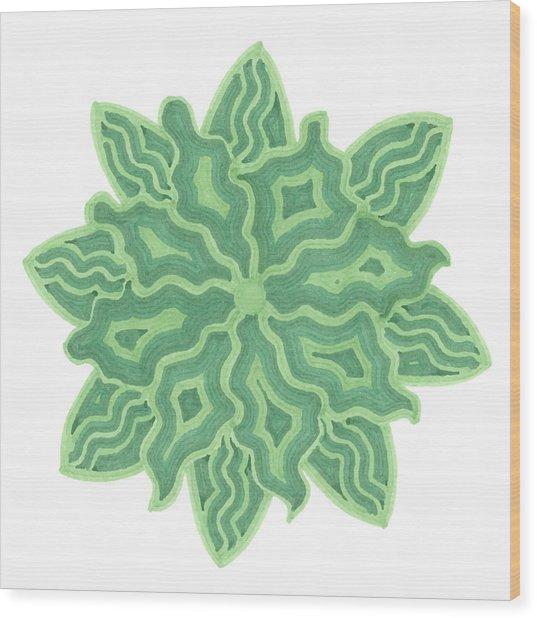 Emerald Flower Wood Print