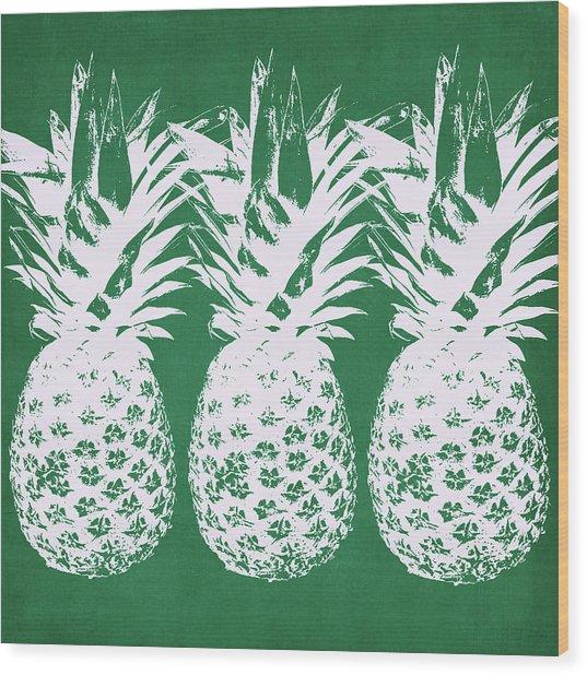 Emerald Pineapples- Art By Linda Woods Wood Print