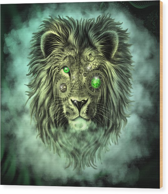 Emerald Steampunk Lion King Wood Print