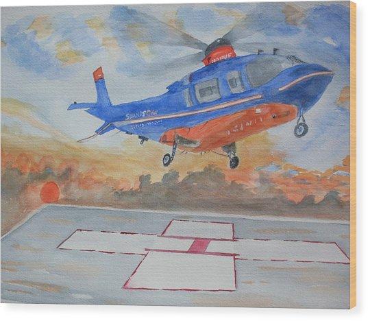 Emergency Landing Wood Print