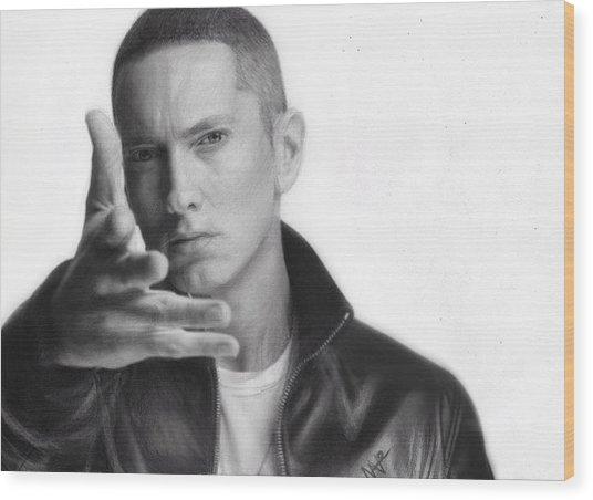 Eminem Wood Print by Nat Morley