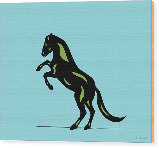 Emma - Pop Art Horse - Black, Greenery, Island Paradise Blue Wood Print