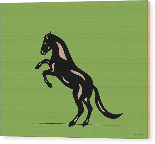 Emma - Pop Art Horse - Black, Hazelnut, Greenery Wood Print