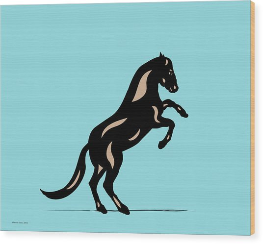 Emma II - Pop Art Horse - Black, Hazelnut, Island Paradise Blue Wood Print