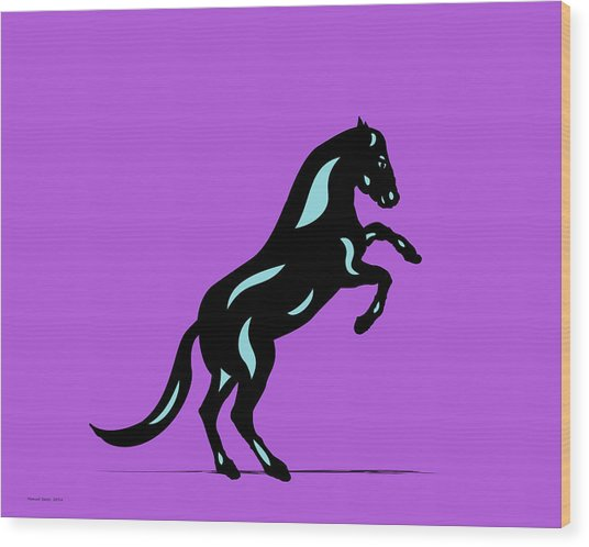 Emma II - Pop Art Horse - Black, Island Paradise Blue, Purple Wood Print
