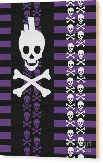 Emo Punk Skull Wood Print