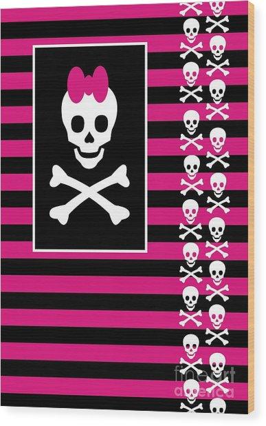 Emo Skull Princess Wood Print