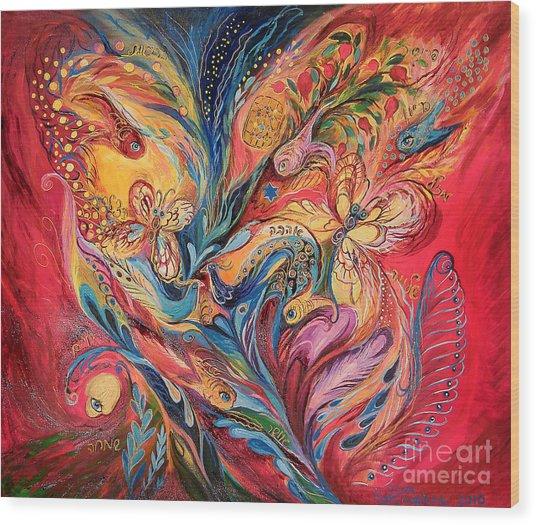 Emotion In Red Wood Print by Elena Kotliarker