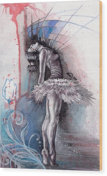 Emotional Ballet Dance Wood Print