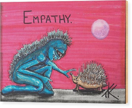 Empathetic Alien Wood Print