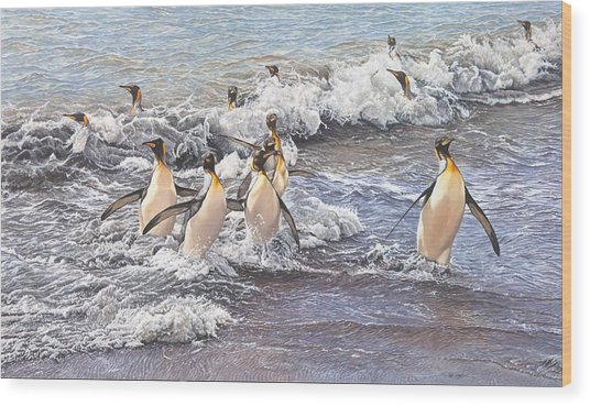 Emperor Penguins Wood Print