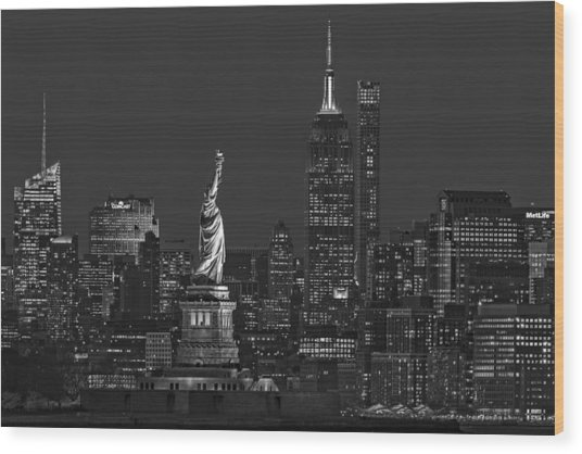 Wood Print featuring the photograph Empire State And Statue Of Liberty II Bw by Susan Candelario