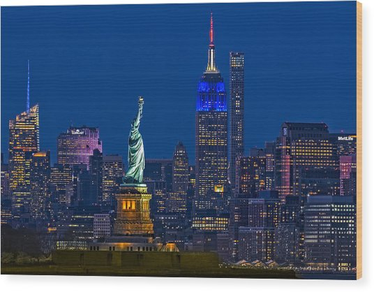 Empire State And Statue Of Liberty II Wood Print