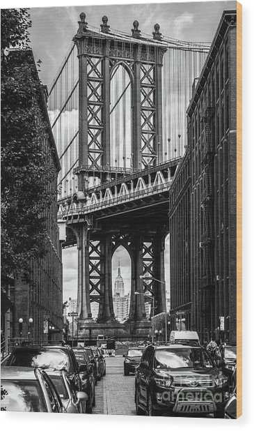 Empire State Building Framed By Manhattan Bridge Wood Print