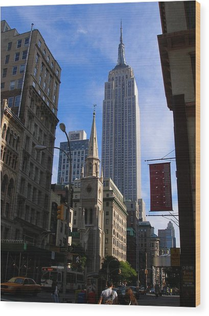 Empire State Building-new York City-manhattan Skyline Wood Print by Candace Garcia