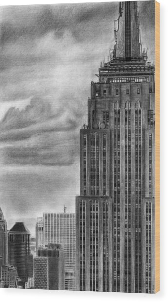 Empire State Building New York Pencil Drawing Wood Print