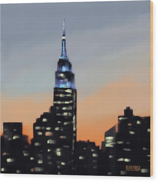 Empire State Building Ombre New York Skyline Wood Print
