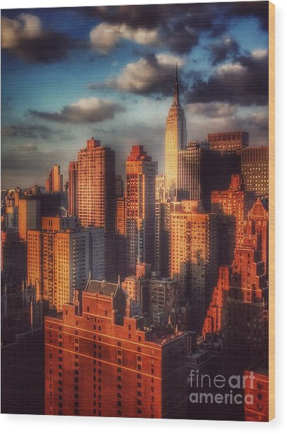 Empire State In Gold Wood Print