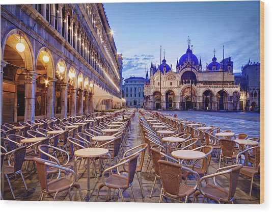 Empty Cafe On Piazza San Marco - Venice Wood Print