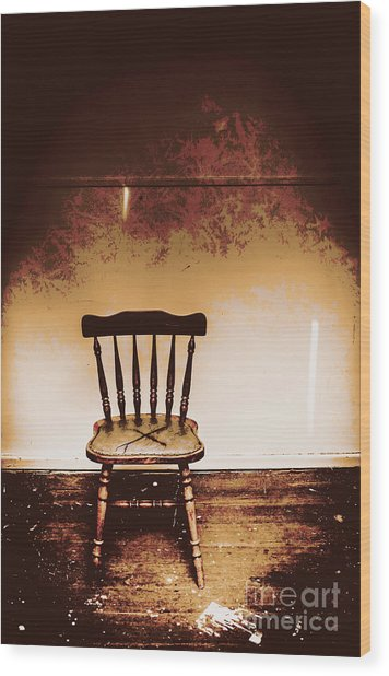 Empty Wooden Chair With Cross Sign Wood Print