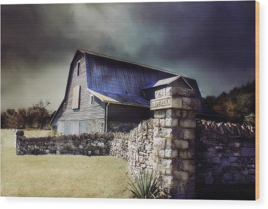 Empyrean Estate Stone Wall Wood Print