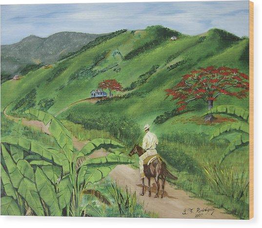 En El Campo A Caballo Wood Print