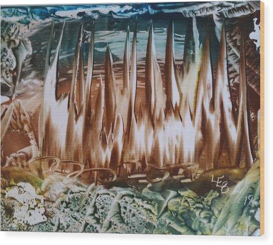 Encaustic Abstract Brown Blue-green Wood Print