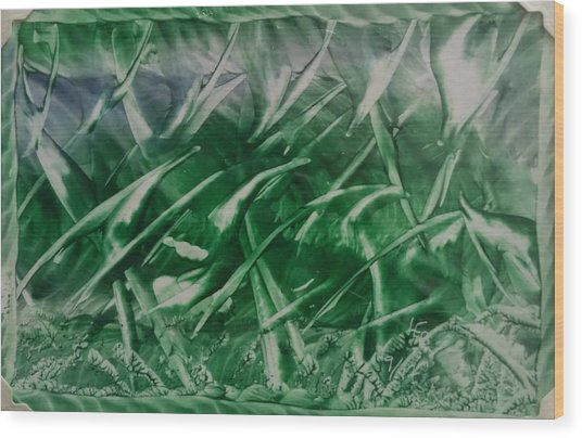 Encaustic Green Foliage With Some Blue Wood Print