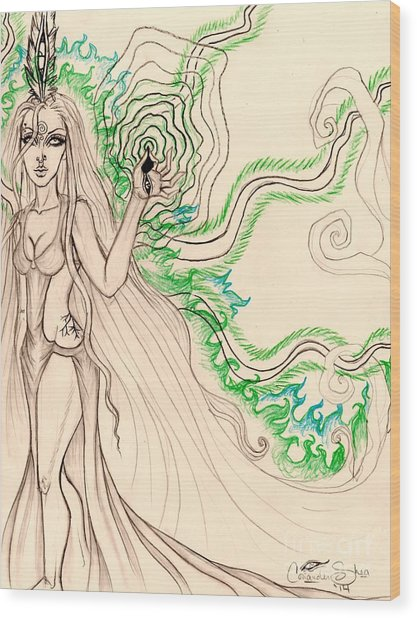 Enchanted By An Emerald Flame Sketch Wood Print by Coriander Shea