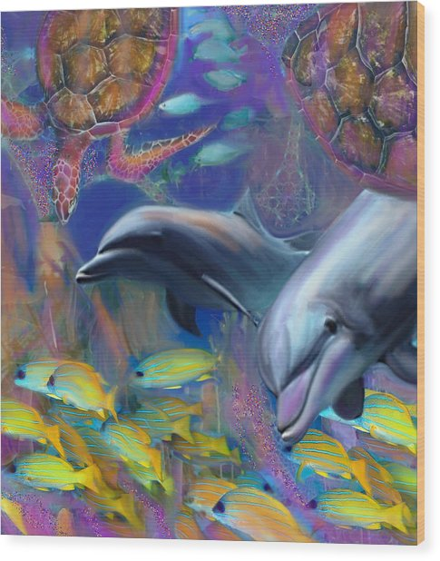 Enchanted Dolphins Wood Print