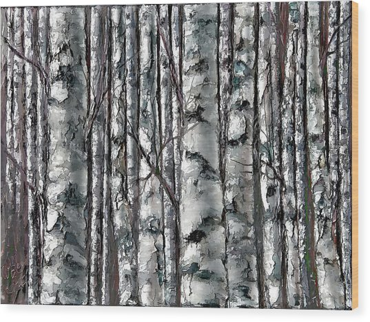 Enchanted Forest -black And White Wood Print