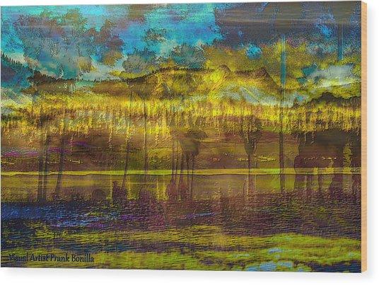 Wood Print featuring the digital art Enchanted Land by Visual Artist Frank Bonilla