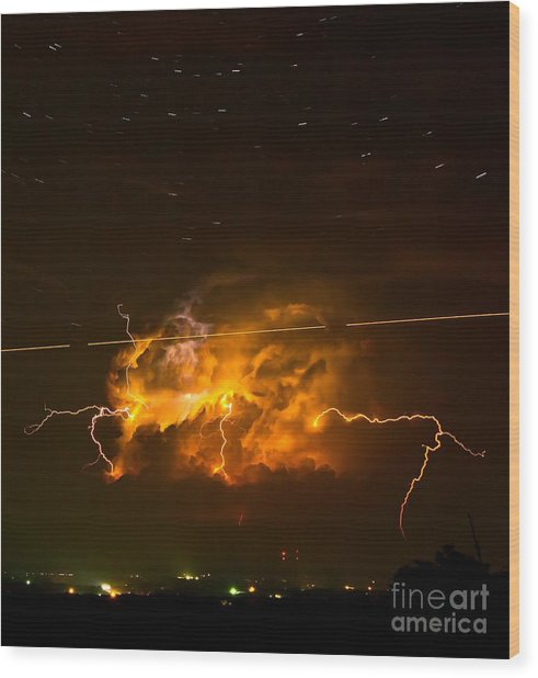 Enchanted Rock Lightning Wood Print