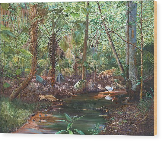 Enchanted Stream Wood Print