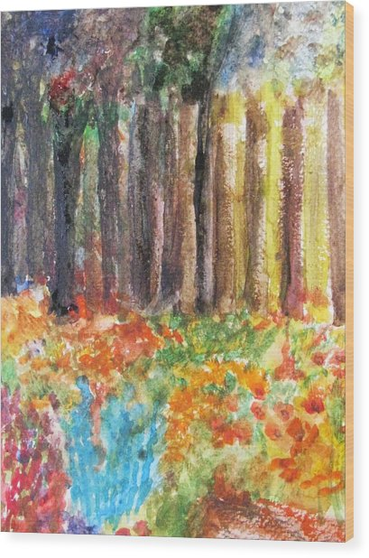 Enchanted Woods Wood Print by Trilby Cole