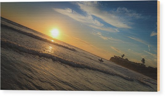 End Of Summer Sunset Surf Wood Print