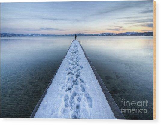 End Of The Dock In Lake Tahoe  Wood Print