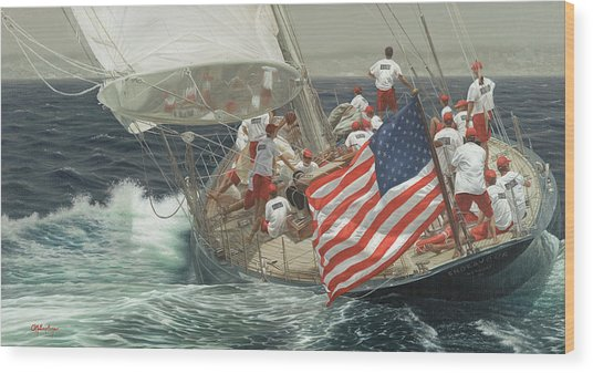 Endeavour's Flag Wood Print by Julia O'Malley-Keyes