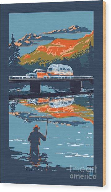 Enderby Cliffs Retro Airstream Wood Print