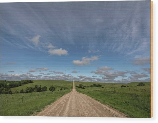 Wood Print featuring the photograph Endless Country Road by Scott Bean