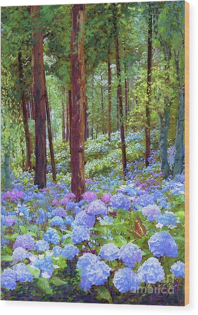 Endless Summer Blue Hydrangeas Wood Print