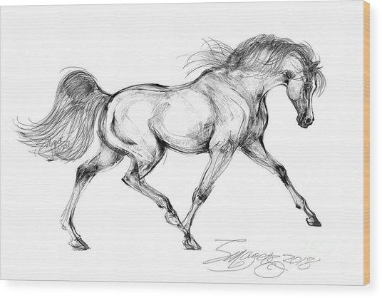 Endurance Horse Wood Print