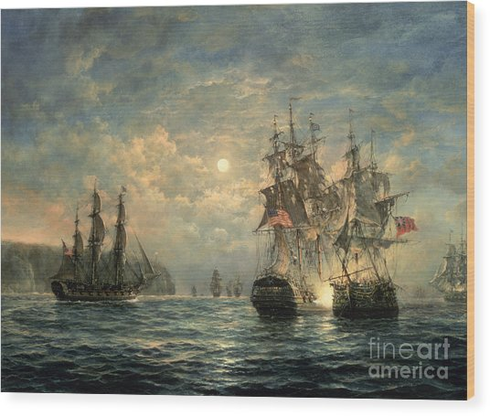 Engagement Between The 'bonhomme Richard' And The ' Serapis' Off Flamborough Head Wood Print