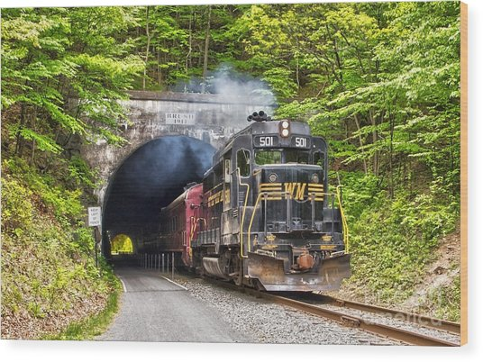 Engine 501 Coming Through The Brush Tunnel Wood Print