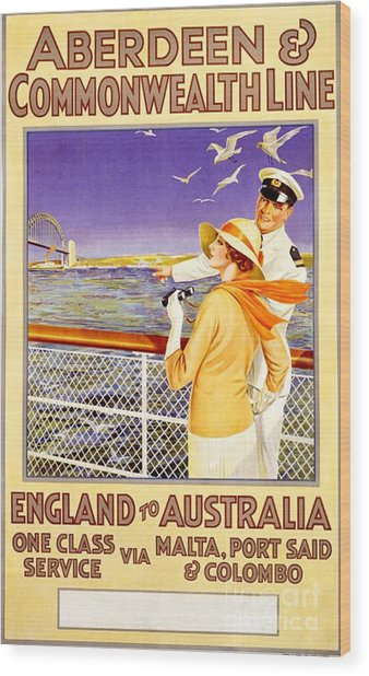England To Australia Wood Print