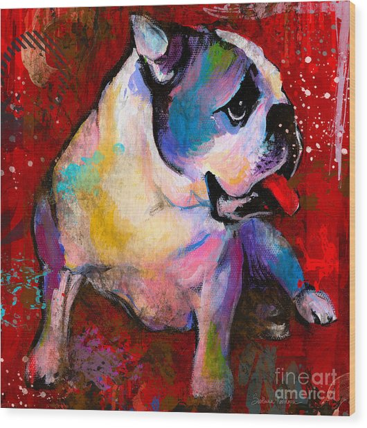 English American Pop Art Bulldog Print Painting Wood Print