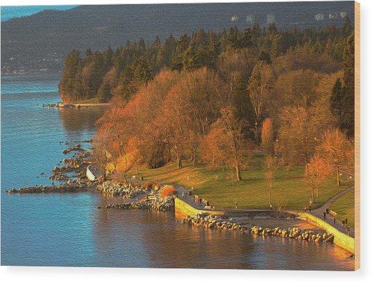 English Bay At Golden Hr. Wood Print